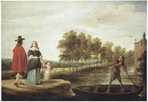 Landschap met een familie aan de waterkant