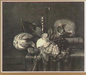 Vanitasstilleven met schedel, vruchten en fluitglas