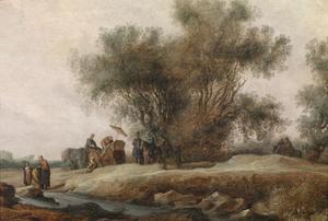 Rivierlandschap met de doop van de kamerling