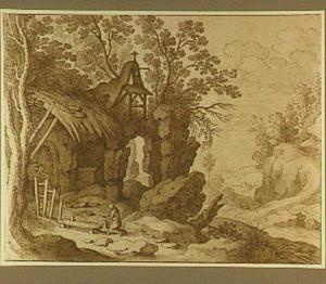 Heremiet of boetedoende Maria Magdalena bij ruïne in rotsachtig landschap
