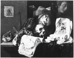 Vanitasstilleven met een schedel, hemelglobe en een gipsafgietsel van een kop