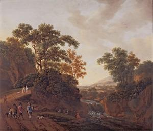 Bebost landschap met jagers op een zandweg bij een waterval
