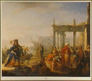 Italiaans havengezicht met handelaren voor een klassieke ruïne