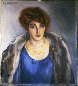 Portret van een vrouw met blauwe jurk en bontkraag