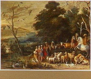Landschap met de inscheping in de ark van Noach van mens en dier (Genesis 7:13-16)