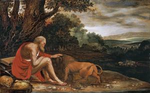 De H. Hiëronymus in de wildernis met de leeuw