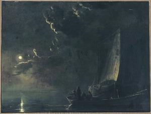 Riviergezicht bij volle maan, op de voorgrond  vissers in een boot