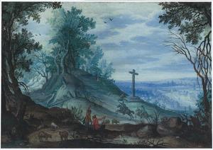 Bebost berglandschap met ruiters en herders