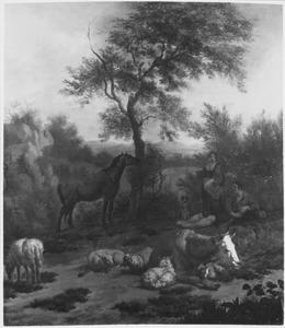 Landschap met rustend vee en enkele herders
