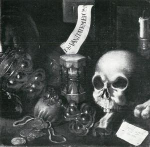 Stilleven met schedel en zandloper