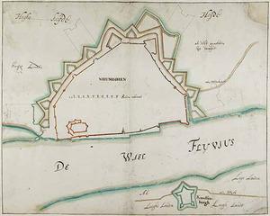 Nijmegen, plattegrond van de vesting en het fort Knodsenburg