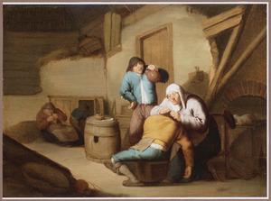 Oude vrouw die een man vlooit: allegorie op het Gezicht