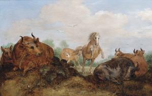 Koeien en een paard in een landschap