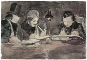 Drie kunstenaars in het atelier