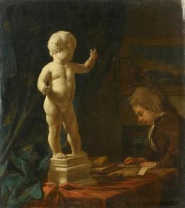 Jongen die een sculptuur natekent