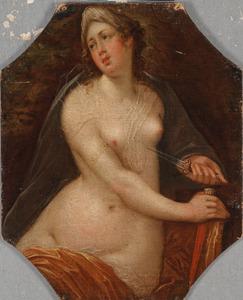 Vrouwelijk personificatie van een der vijf zintuigen: het Gevoel (de zelfmoord van Lucretia)