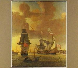 Twee oorlogsschepen op de rede van Greenwich