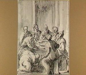 Maria Magdalena zalft de voeten van Christus in het huis van Simon de farizeeër (Lucas 7)