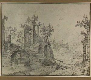 Ruïnelandschap met in de verte een watermolen