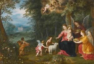 Maria met kind en de jonge Sint Johannes de Doper in een boslandschap