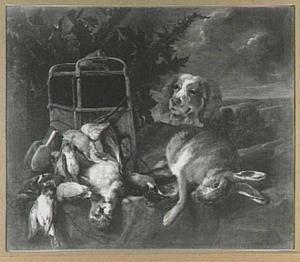 Hond bij buit van haas,  gevogelte en vogelkooi in een landschap