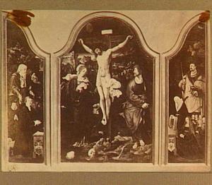 Drieluik met Jacob Kanis, zijn zoon Peter Kanis (Petrus Canisius) en de H. Hieronymus (linkerluik), de kruisiging (middenpaneel), Jeliske van Henegouwen, haar dochter en de H. Adrianus (rechterluik)