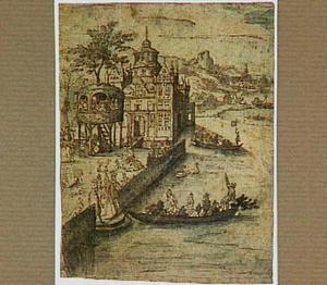 Galante figuren rond een kasteel aan een meer