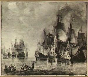 Zeeslag met op de voorgrond twee roeiboten die elkaar aanvallen