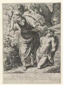 Het offer van Abraham: Een engel weerhoudt Abraham om Isaak te offeren (Genesis 22:10-12)