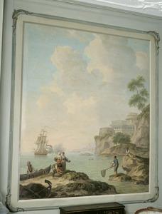 Mediterraan kustlandschap met fortificatie en visserscène