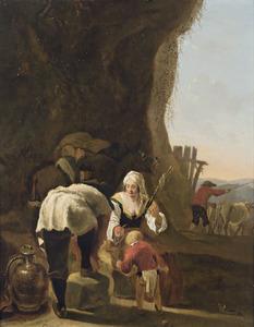 Zuidelijk landschap met op de voorgrond een spinnende vrouw met kind en een voorovergebogen man voor een rotswand