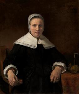 Portret van een vrouw met anjer