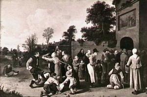 Het voeden der hongerigen: Voedseluitdeling aan een kloosterpoort (Een der