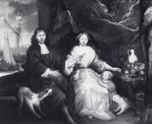 Portret van een onbekend echtpaar met kind