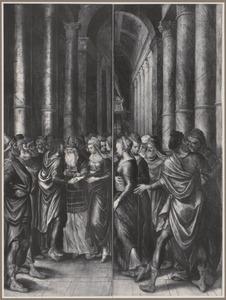 De aanbidding van de herders (binnenzijde links), De vlucht naar Egypte (midden), De aanbidding van de wijzen (binnenzijde rechts); Het huwelijk van Maria en Jozef (buitenzijde); De vier ambachten van het gilde der timmerlieden: de scheepstimmerman, de timmerman, de schrijnwerker en de stoelendraaier (predella)