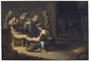 Een dorpsdokter behandelt een been