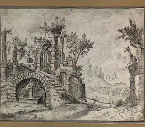 Landschap met klassieke ruïnes; in de verte een watermolen