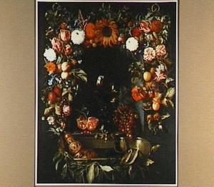Guirlande van vruchten en bloemen rond een tros druiven en een roemer: Ode aan de wijn