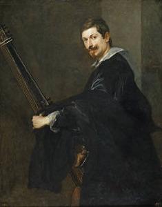 Portret van een onbekende man met een chitarrone