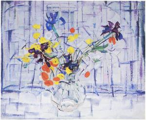Bloemen in een vensterbank