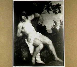 De H. Sebastiaan aan een boom gekluisterd