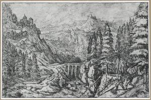Berglandschap met twee reizigers