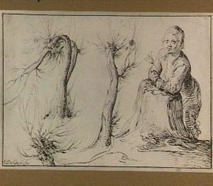 Jongen die tegen een rotsblok leunt met een tulp in zijn handen en drie studies van knotwilgen