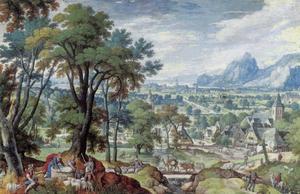 Landschap met Jacob die de dekplaat van de bron wentelt, zodat Rachels vee kan drenken (Genesis 29:9-10)