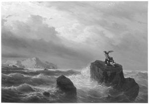 Kinderen op een rots in volle zee