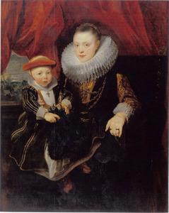 Dubbelportret van een vrouw met haar kind, ook wel Balthasarina van Lennik met haar zoon genaamd
