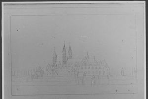Abdij van Egmond-Binnen gezien vanuit het zuid-zuidoosten voor de verwoesting in 1573
