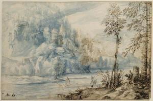 Berglandschap met rivier waarop een vlot (verso: Romeinse ruünes)