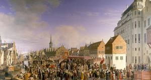 Hommage aan de erfkoning voor het kasteel van Kopenhagen op 18 oktober 1660