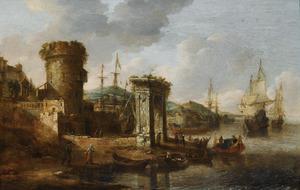Een mediterraanse haven met Hollandse zeilschepen en een triomfboog